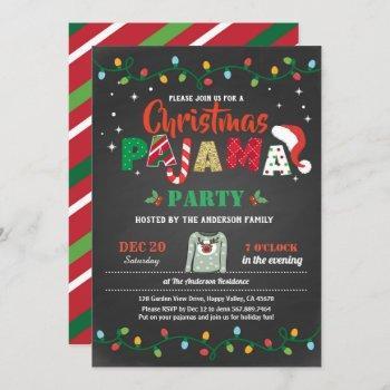 christmas pajama party holiday party chalkboard invitation