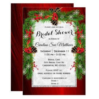 christmas pine bridal shower invitation
