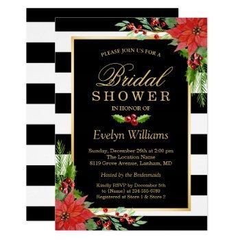 christmas poinsettia floral striped bridal shower invitation