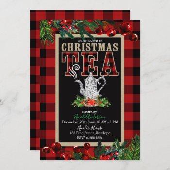 christmas tea party rustic red black buffalo plaid invitation