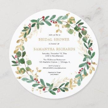 christmas wreath burgundy greenery bridal shower invitation