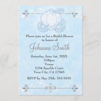cinderella carriage bridal shower blue invitation
