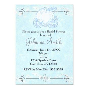 cinderella carriage bridal shower blue invitation