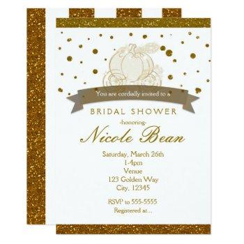 cinderella carriage gold glitter dots invitations