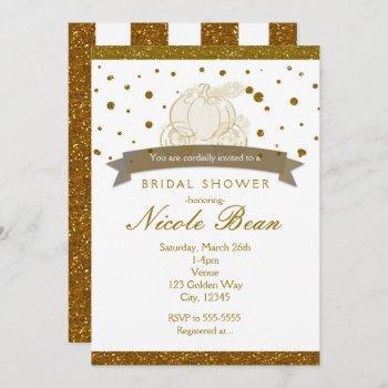 cinderella carriage gold glitter dots invitations