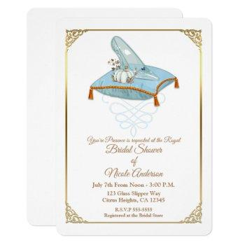 cinderella glass slipper elegant bridal shower invitation