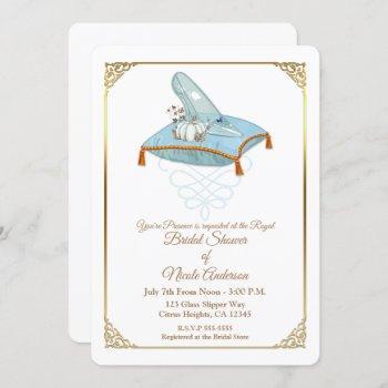 cinderella glass slipper elegant bridal shower invitation