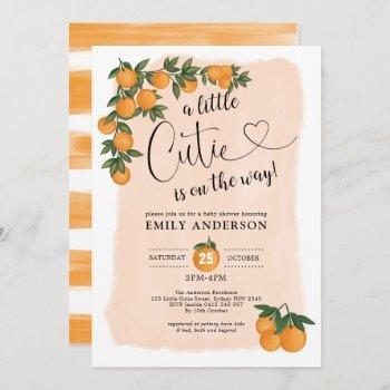 citrus baby shower botanical orange little cutie invitation