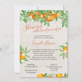citrus orange love from afar bridal shower by mail invitation