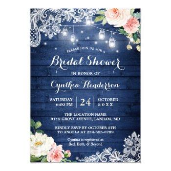 classic blue mason jar lights floral bridal shower invitation