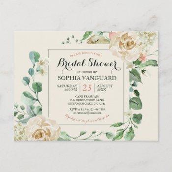 classic elegant floral bridal shower invitation postcard
