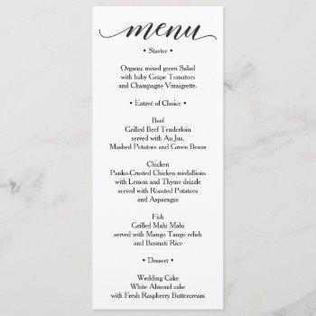 classic menu - wedding menu or bridal shower menu invitation