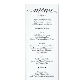 classic menu - wedding menu or bridal shower menu invitation