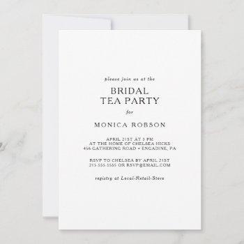 classic minimalist bridal tea party invitation