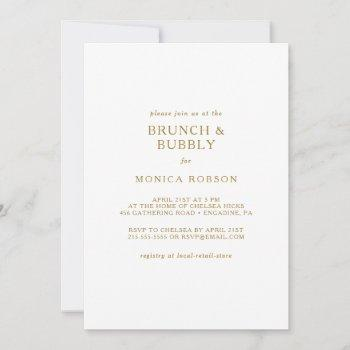 classic minimalist gold brunch and bubbly shower invitation