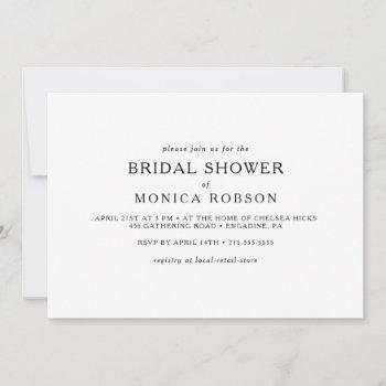 classic minimalist horizontal bridal shower invitation