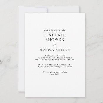 classic minimalist lingerie shower invitation