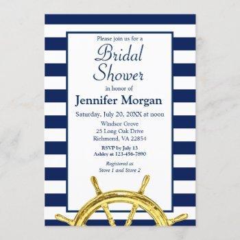 classic nautical stripes navy gold bridal shower invitation