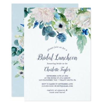 classic white flowers bridal luncheon invitation