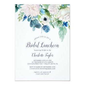 Classic White Flowers Bridal Luncheon Invitation Front View