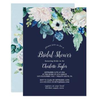 classic white flowers | navy bridal shower invitation