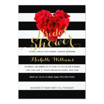 classy floral stripes bridal shower invitation