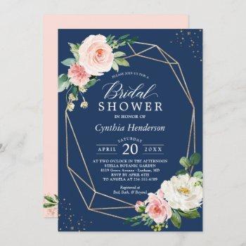 classy navy blue blush pink floral bridal shower invitation