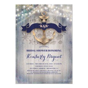 coastal nautical golden anchor bridal shower invitation