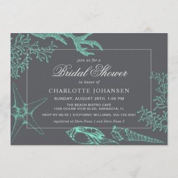 coastal sea coral nautical theme bridal shower invitation