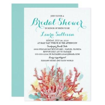 colorful coral reef watercolor | bridal shower invitation
