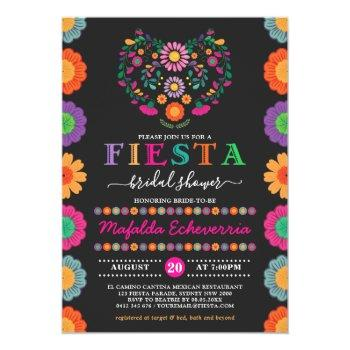 colorful fiesta bridal shower mexican flowers invitation