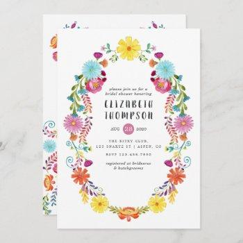 colorful watercolor floral fiesta bridal shower invitation