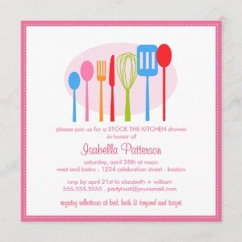 cooking utensils stock the kitchen bridal shower invitation