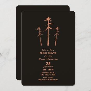 copper bronze tall pine trees rustic bridal shower invitation