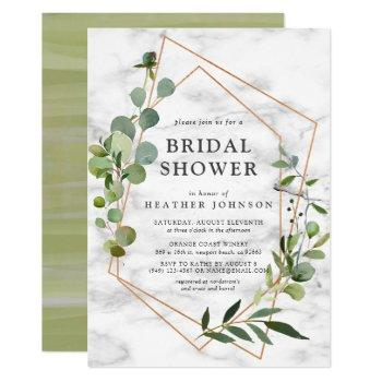 copper marble geometric eucalyptus bridal shower invitation