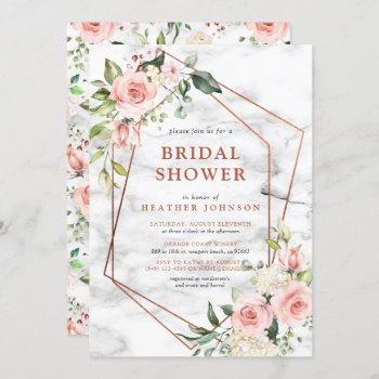 copper marble geometric pink floral bridal shower invitation
