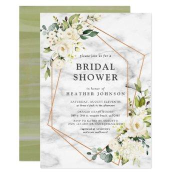 copper marble geometric white floral bridal shower invitation