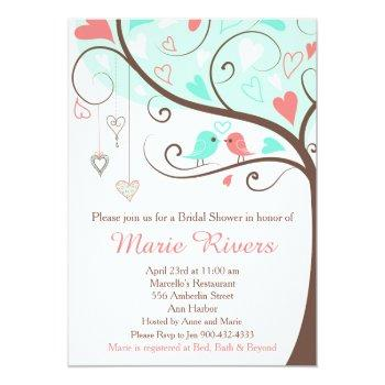 coral and mint floral bird bridal shower invitation
