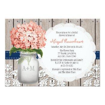 coral and navy hydrangea mason jar bridal shower invitation