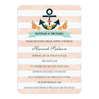 coral and navy nautical bridal shower invitation