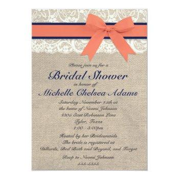 coral and navy ribbon rustic bridal shower invitation