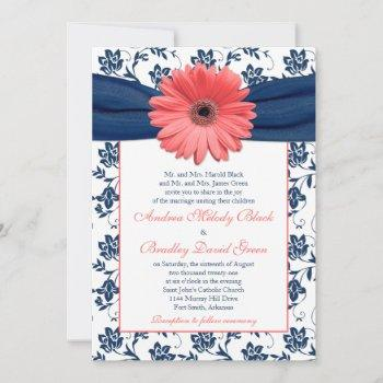 coral gerbera daisy navy floral wedding invitation