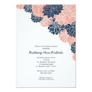 coral navy dahlias bridal shower invites