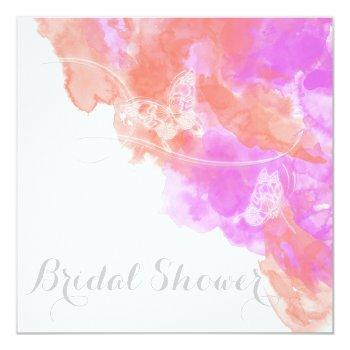 coral orchid watercolor butterfly  bridal shower invitation