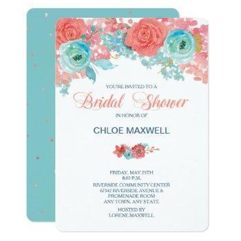 coral pink and aqua floral bridal shower invite