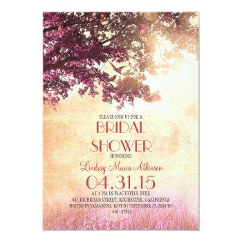 coral pink old oak tree & love birds bridal shower invitation