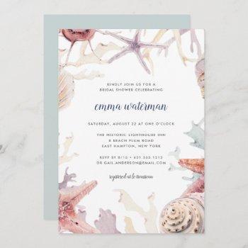 coral reef bridal shower invitation