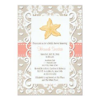 coral starfish bridal shower invitations