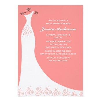 coral wedding gown bridal shower invitation