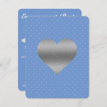 cornflower blue & silver polka dot shower party invitation